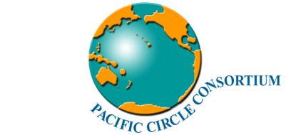 Logo of the Pacific Circle Consortium. Graphic of the earth with the Pacific ocean as the center.